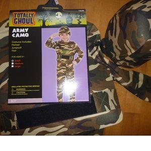 Boys ARMY Camo Soldier Costume Helmet Sz 4/6 NWT